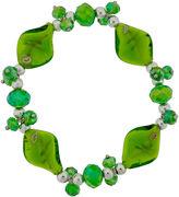 SPARKLE ALLURE Dazzling Designs Green Artisan Glass Stretch Bracelet