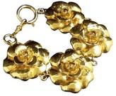 Chanel Gold-Tone Metal Flower Motif Bracelet