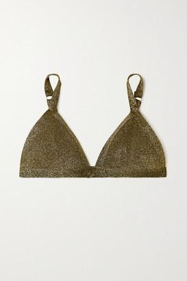 LOVE Stories Uma Metallic Stretch-jersey Soft-cup Triangle Bra - Black