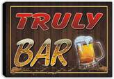 AdvPro Canvas scw3-054135 TRULY Name Home Bar Pub Beer Mugs Stretched Canvas Print Sign