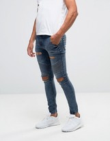 SikSilk Skinny Biker Jeans With Extreme Rips