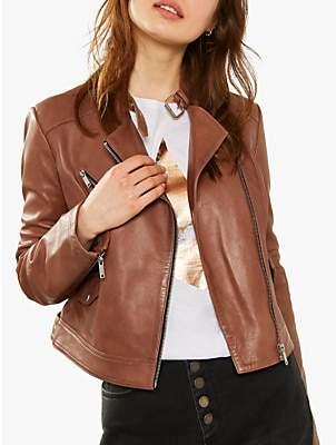 Mint Velvet Leather Biker Jacket, Tan