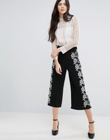 Endless Rose Wide Leg Cropped Pant With Lace Detail