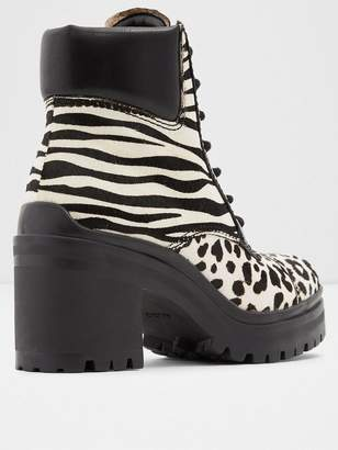 Aldo Brania Animal Ankle Boots - White/Black