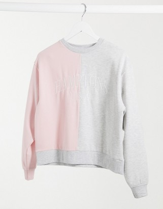 New Look hamptons color block sweatshirt in pink & gray