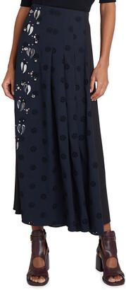 Chloé Elie Jeweled Dot Flower Eyelet Midi Skirt