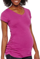 PLANET MOTHERHOOD Planet Motherhood Short Sleeve Ruched-Side Tee-Maternity