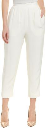 Monique Lhuillier High-Waisted Silk Crop Pant