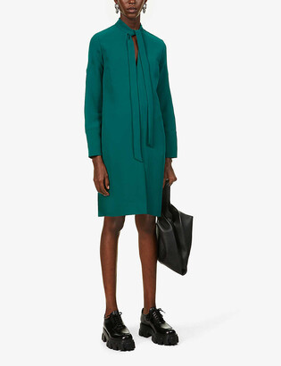 VVB Loose-fit V-neck crepe mini dress