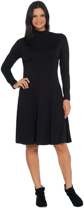Dennis Basso Jersey Knit Fit-and-Flare Mock-Neck Dress