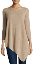 Neiman Marcus Cashmere Long-Sleeve Tunic Sweater, Tan
