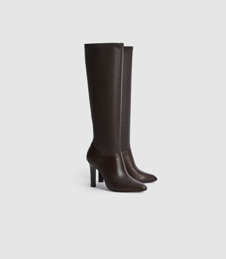 Reiss Cressida - Leather Knee High Boots in Brown