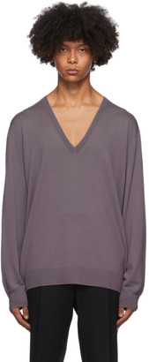 Dries Van Noten Purple Relaxed V-Neck Sweater