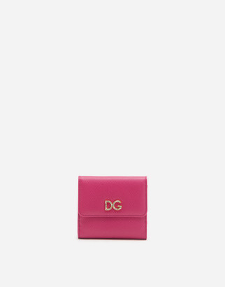 Dolce & Gabbana French Flap Wallet In Dauphine Calfskin With Logo Crystals