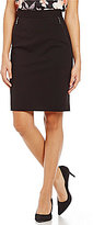 Kasper Mid Rise Zipper-Detail Solid Pencil Skirt