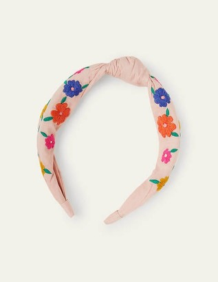 Boden Embroidered Knotted Headband - Boto Pink