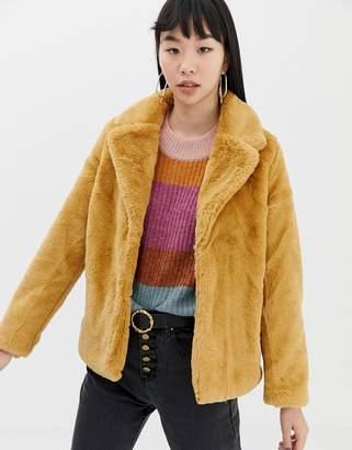 Ichi Short Faux Fur Jacket-Yellow
