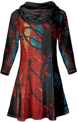 Lily Women's Tunics RED - Red & Black Abstract Cowl Neck Tunic - Women & Plus