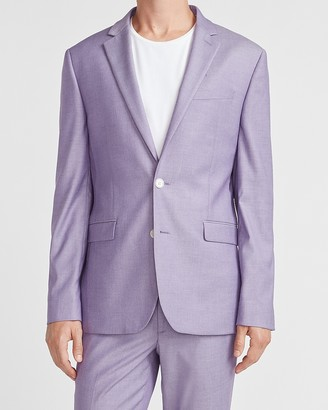 Express Extra Slim Purple Textured Performance Blend Suit Jacket