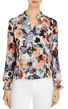 Go Silk Go by Ruffle Neck Floral Print Silk Blouse