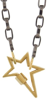Marla Aaron Yellow Gold Star Lock with 16 Inch Biker Chain Necklace