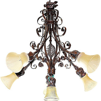 One Kings Lane Vintage French Country Wrought Steel Chandelier - House of Charm Antiques