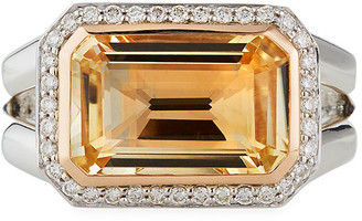 David Yurman Novella Stone and Diamond Ring in Citrine