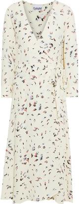 Ganni Floral-print Crepe Midi Wrap Dress
