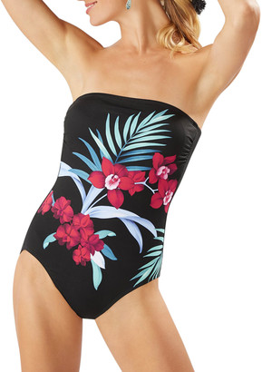 Tommy Bahama Midnight Orchid Bandeau One-Piece Swimsuit