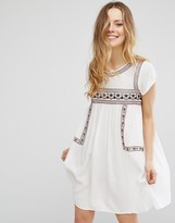 Brave Soul Short Sleeve Dress With Embroidery