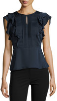 Collective Concepts Keyhole Ruffled Peplum Top
