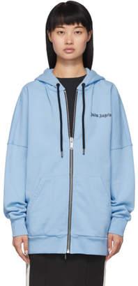 Palm Angels Blue Logo Zip-Up Hoodie