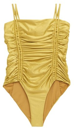 Isa Boulder Chandler Tie-straps Ruched Swimsuit - Yellow