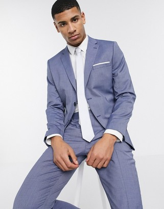 Selected skinny fit stretch suit jacket in blue