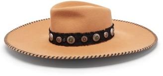 Maison Michel Pina Studded-charm Wide-brim Felt Hat - Tan