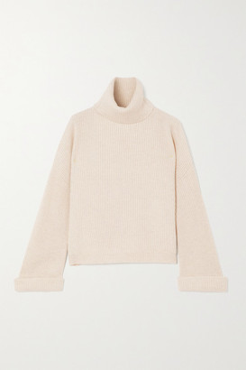 Brunello Cucinelli Bead-embellished Ribbed Cashmere Turtleneck Sweater - Cream