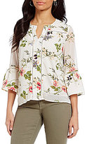 Fever Floral Split V-Neck Bell Sleeve Blouse