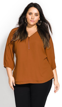 City Chic Sexy Fling Elbow Sleeve Top - amber