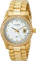 Akribos XXIV Men's AK488YG Diamond Quartz Gold-Tone Stainless Steel Bracelet Watch