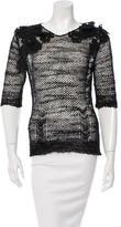Nina Ricci Crochet Three-Quarter Sleeve Blouse