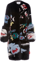 Prabal Gurung Floral Motif Mink and Fox Fur Coat