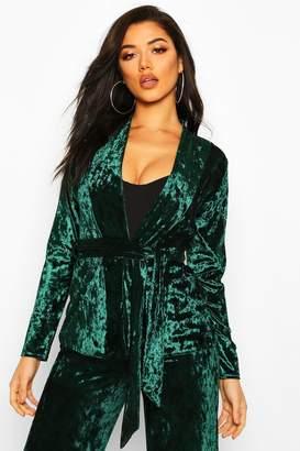 boohoo Collarless Belted Velvet Blazer