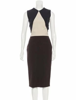 Victoria Beckham Sleeveless Midi Dress Brown