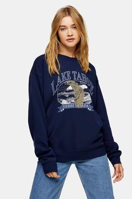 Topshop Navy Lake Tahoe Sweatshirt