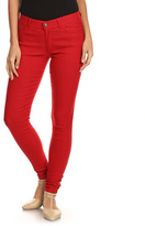 Classic Red Five-Pocket Skinny Pants
