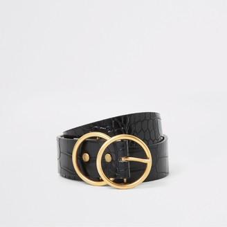 River Island Womens Black croc embossed gold double ring belt