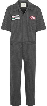 R 13 Mechanic Appliquéd Pinstriped Cotton-Blend Twill Jumpsuit