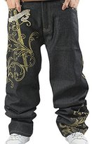 Huafeiwude Men's Hip-hop Embroidered Printed Baggy Denim Jeans 6 Designs