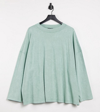 ASOS DESIGN Curve boxy top with seam detail and long sleeve in washed sage