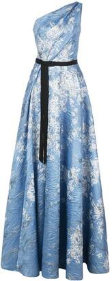 Marchesa Printed One-Shoulder Dress